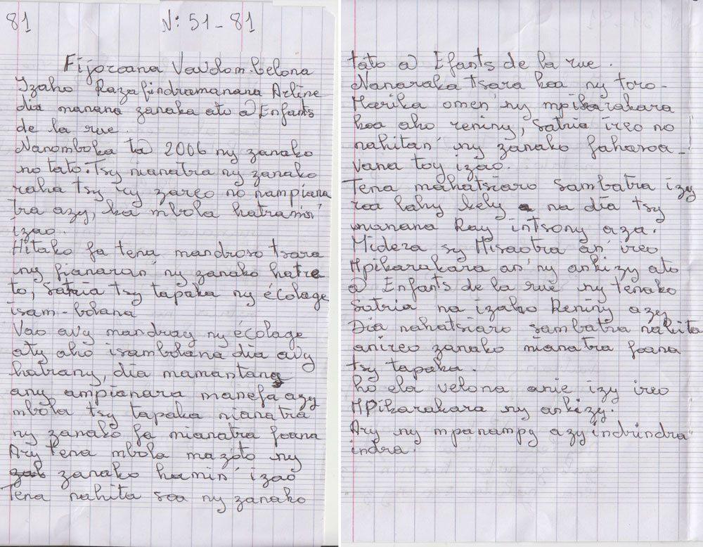 Maman de Rakotondrasana Georges Antonio (EDLR n° 51) et Randrianatenaina Geroges Romario (EDLR n° 81)